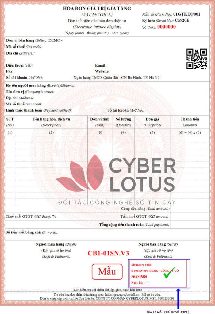 Một mẫu hóa đơn điện tử và chữ kí số do FADI cung cấp